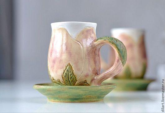 Сервизы, чайные пары ручной работы. Ярмарка Мастеров - ручная работа. Купить Керамическая чашка с блюдцем Утренняя Роза чайная пара. Handmade.