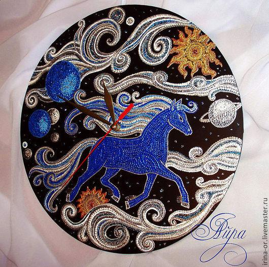 """Часы для дома ручной работы. Ярмарка Мастеров - ручная работа. Купить Часы """"По Млечному пути"""". Handmade. Синий"""