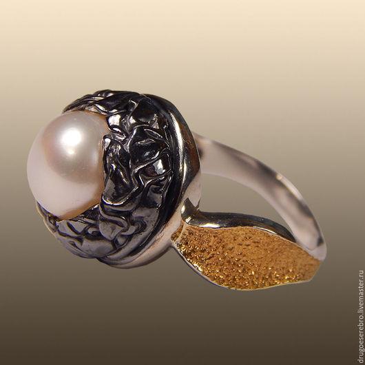 Кольца ручной работы. Ярмарка Мастеров - ручная работа. Купить Серебряное кольцо с жемчугом Гнёздышко. Handmade. Подарок девушке