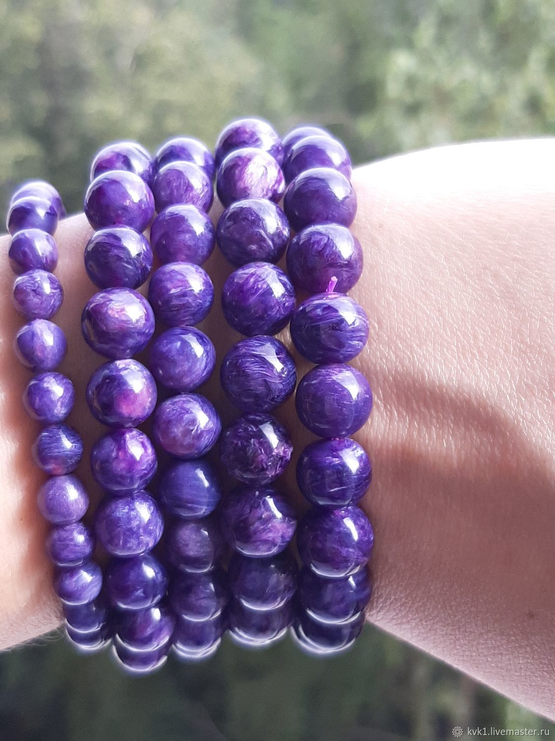 Bracelet made of bright and magnificent charoite, any size, Bead bracelet, Moscow,  Фото №1