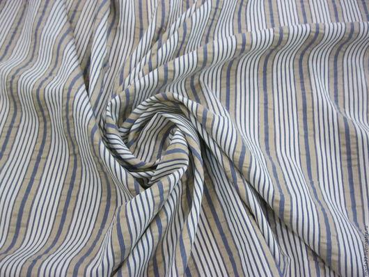 Шитье ручной работы. Ярмарка Мастеров - ручная работа. Купить Лен с шелком.. Handmade. Тёмно-синий, рубашечная ткань