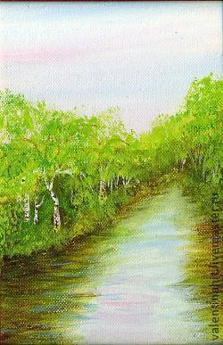 """Пейзаж ручной работы. Ярмарка Мастеров - ручная работа. Купить картина """"Весенний разлив"""" (розовый, салатовый). Handmade. Голубой цвет"""
