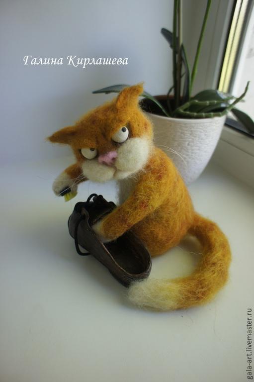 Игрушки животные, ручной работы. Ярмарка Мастеров - ручная работа. Купить Провинившийся.... Handmade. Рыжий, войлочный кот, кот из шерсти