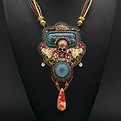 handmade. Livemaster - original item Pendant skull with ophite agate jasper Tibetian Santa Muerte. Handmade.