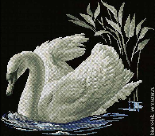 """Вышивка ручной работы. Ярмарка Мастеров - ручная работа. Купить Алмазная мозаика """"Белый лебедь"""", Россия. Handmade. Алмазная вышивка"""