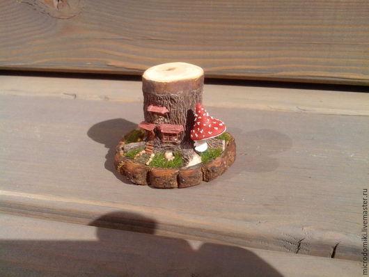 Миниатюра ручной работы. Ярмарка Мастеров - ручная работа. Купить Домик в пеньке. Handmade. Зеленый, кукольный дом, бумага