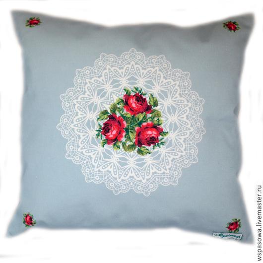 Текстиль, ковры ручной работы. Ярмарка Мастеров - ручная работа. Купить Декоративная подушка Дачная. Handmade. Голубой, красивая подушка