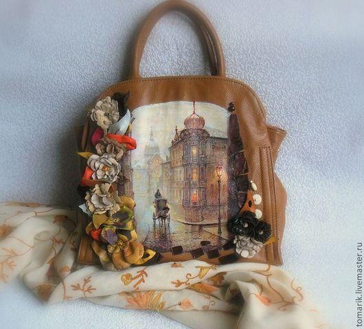 Сумка кожаная  женская органайзер,Декорирована принтом на коже  цветами так же из натуральной кожи, Индивидуальный модный аксессуар.