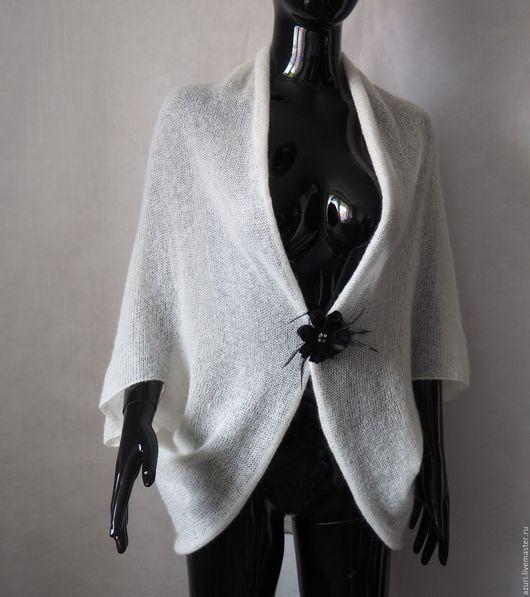 Кофты и свитера ручной работы. Ярмарка Мастеров - ручная работа. Купить Накидка-кардиган из кид-мохера, белый. Handmade. Белый