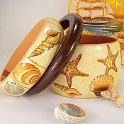 Украшения handmade. Livemaster - original item Bracelets jewelry set-wood Beach decoupage. Handmade.
