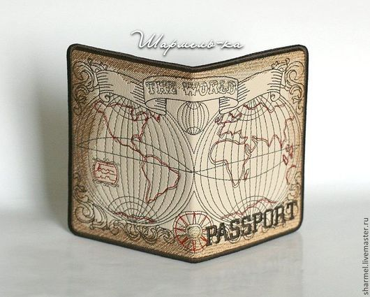 Вышитая обложка на загранпаспорт `Карта мира. Эпоха открытий`. Полезные вещицы от Шармель-ки.
