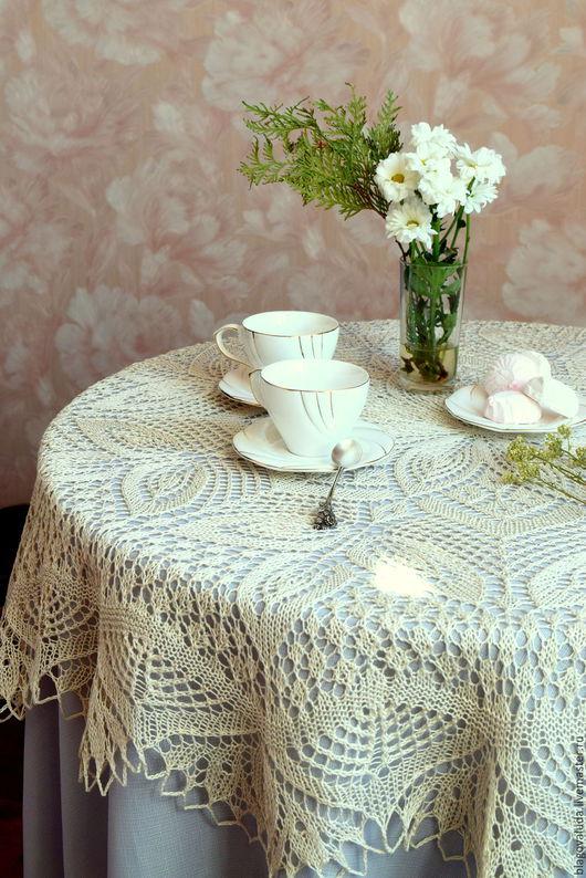 """Текстиль, ковры ручной работы. Ярмарка Мастеров - ручная работа. Купить Скатерть круглая  """"Листья"""". Handmade. Белый, белоснежный, подарок"""