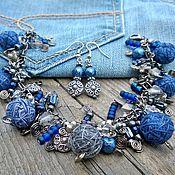 Украшения handmade. Livemaster - original item Jewelry Set Of Bracelet on the Chain and Earrings Boho Jeans Style. Handmade.