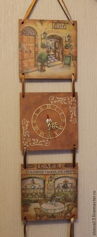 Часы для дома ручной работы. Ярмарка Мастеров - ручная работа. Купить Панно-часы Уютное кафе. Handmade. Коричневый, Франция