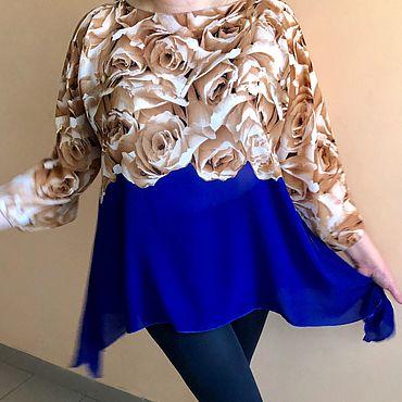 Одежда ручной работы. Ярмарка Мастеров - ручная работа Туника Электрик с бежевыми розами. Handmade.