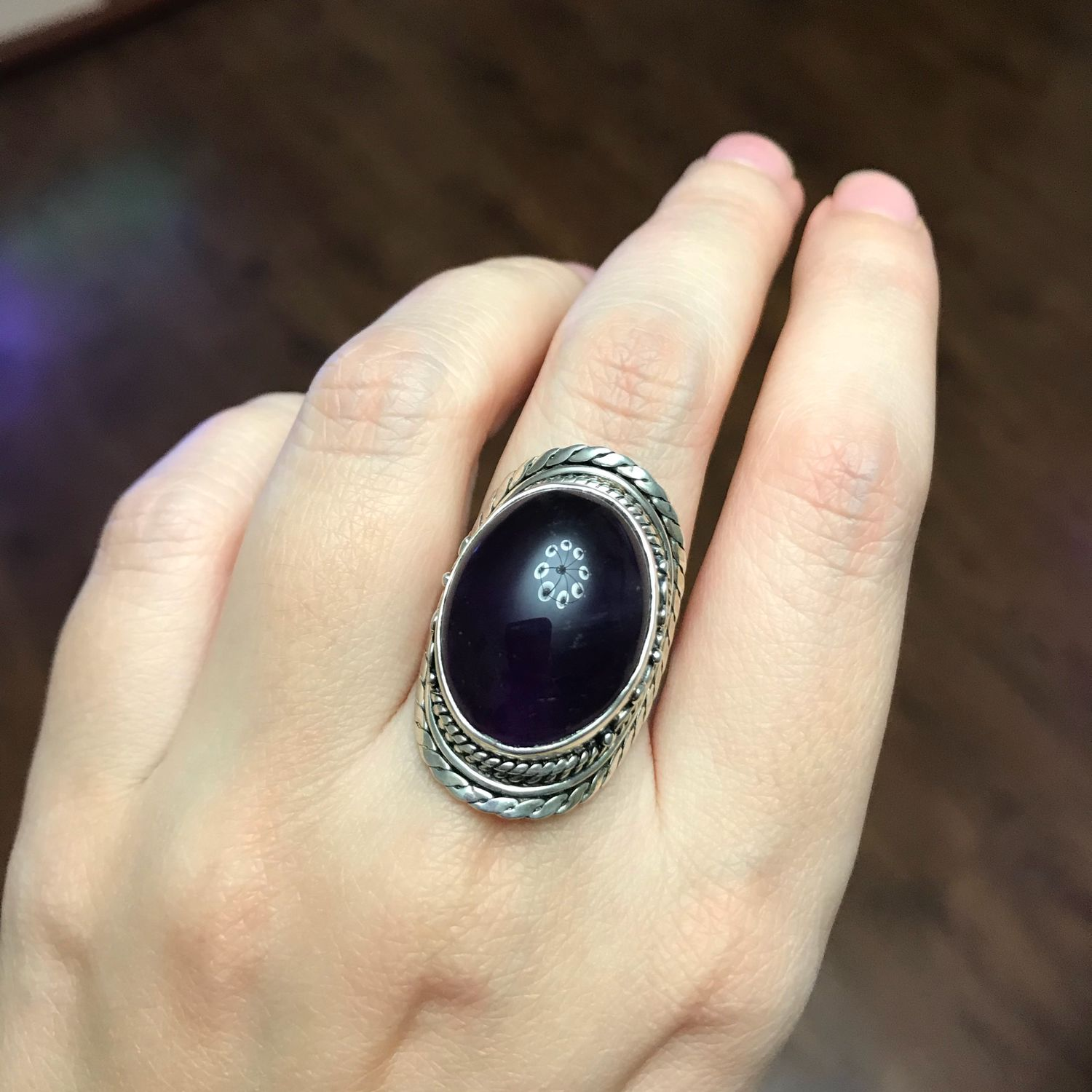 Large amethyst ring, 925 silver, size 19.5-20, Vintage ring, Volgograd,  Фото №1