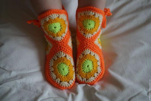 Обувь ручной работы. Ярмарка Мастеров - ручная работа. Купить Сапожки вязаные. Handmade. Рыжий, сапожки вязаные