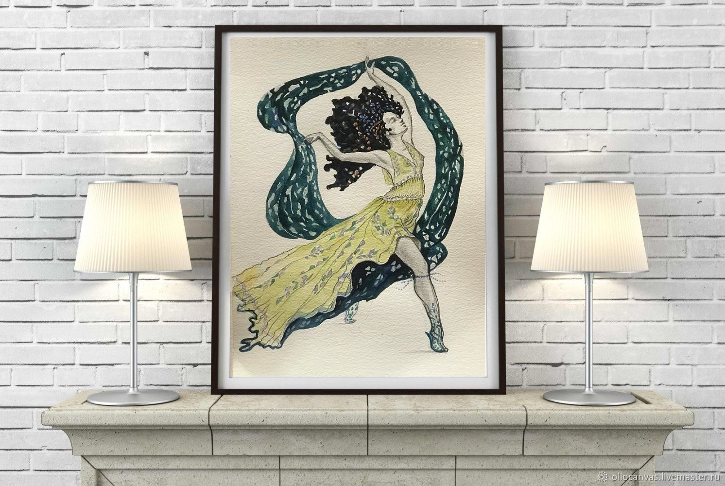 Painting with a dancing girl 'Dancer'. 25h35cm, Pictures, St. Petersburg,  Фото №1