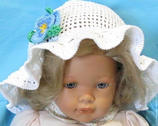 """Шапки и шарфы ручной работы. Ярмарка Мастеров - ручная работа. Купить ПАНАМА для девочек  """"Анютины глазки"""" летняя вязаная. Handmade."""