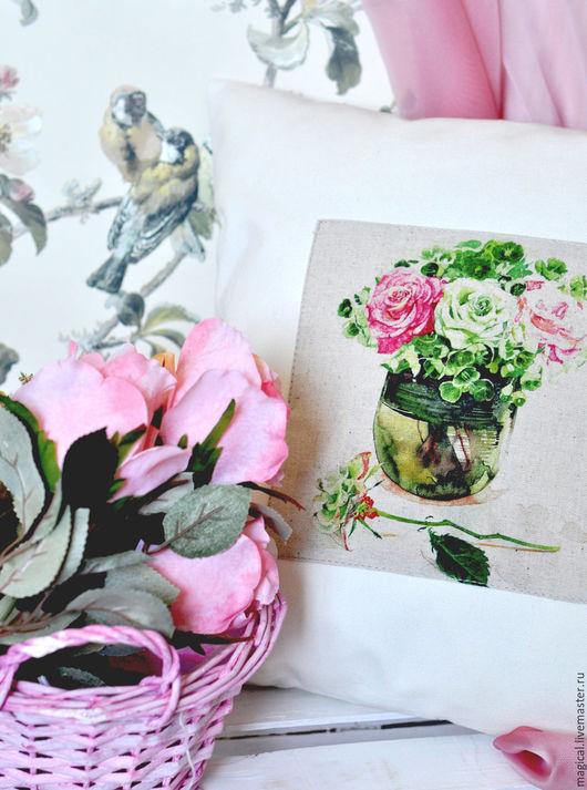 """Текстиль, ковры ручной работы. Ярмарка Мастеров - ручная работа. Купить Подушка """"Утренние розы"""" подарок на новоселье. Handmade. Комбинированный"""