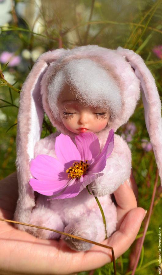 Мишки Тедди ручной работы. Ярмарка Мастеров - ручная работа. Купить Тедди долл Зайка Розовенькая. Handmade. Розовый