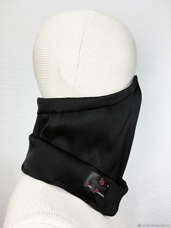 Маска_снуд_03шелксворотом Шелковая маска-трансформер, цвет черный – купить на Ярмарке Мастеров – LUGT6RU | Защитные маски, Одинцово