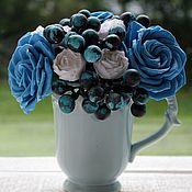 Цветы и флористика handmade. Livemaster - original item Blueberry mousse, bouquet in a Cup. Handmade.