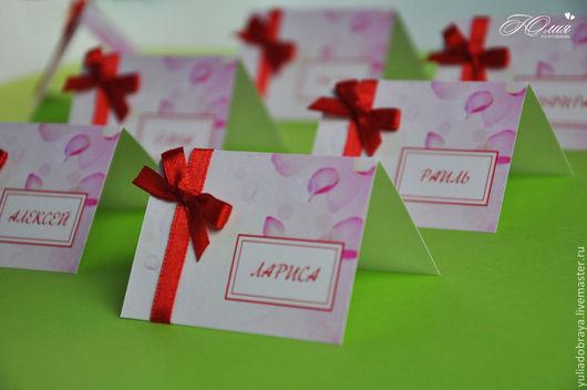 """Свадебные аксессуары ручной работы. Ярмарка Мастеров - ручная работа. Купить """"С лепестками"""". Handmade. Розовый, рассадочные карточки, бантик"""