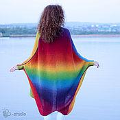 Одежда ручной работы. Ярмарка Мастеров - ручная работа Радуга Вязаное пальто для полных Большие размеры. Handmade.