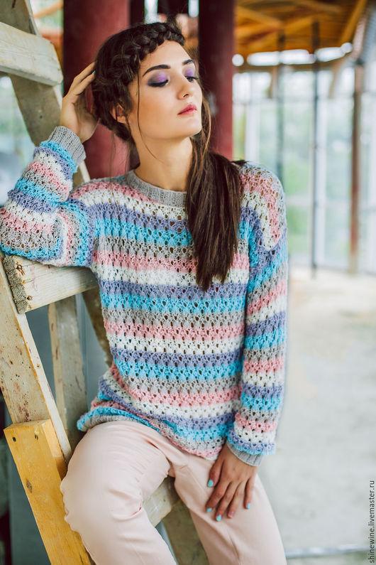 Кофты и свитера ручной работы. Ярмарка Мастеров - ручная работа. Купить нежный свитер из хлопка. Handmade. Фиолетовый, пуловер вязаный