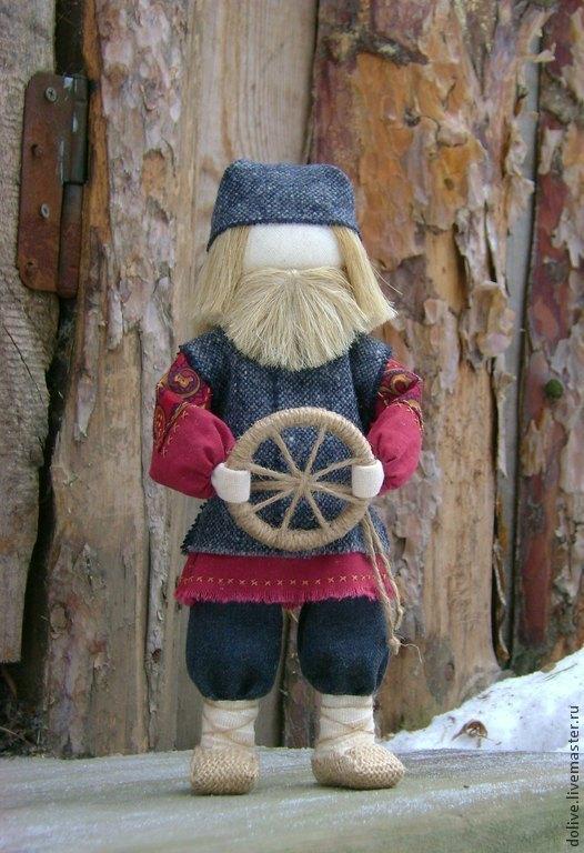 """Народные куклы ручной работы. Ярмарка Мастеров - ручная работа. Купить кукла """"Спиридон-Солнцеворот"""". Handmade. Бордовый, руль"""