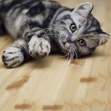 Куклы и игрушки ручной работы. Ярмарка Мастеров - ручная работа Мраморный котенок табби в стиле тедди натюр. Handmade.
