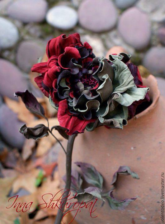 """Букеты ручной работы. Ярмарка Мастеров - ручная работа. Купить Роза из кожи """"Когда в сердце живет любовь"""".. Handmade. Бордовый"""