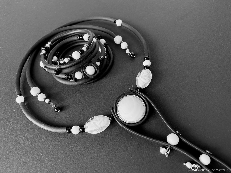 Jewelry set: stylish jewelry made of stones with rubber. geometry, Jewelry Sets, Voronezh,  Фото №1