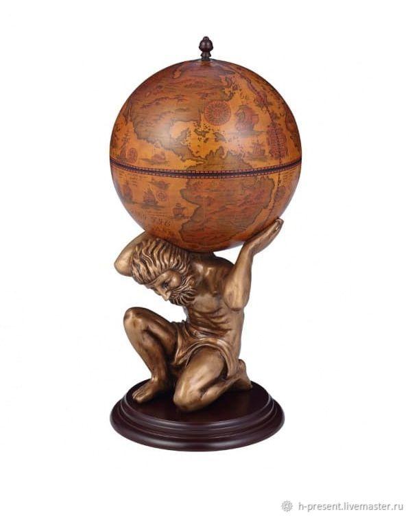 Globe bar floor 'Atlant' sphere 42 cm, Stand for bottles and glasses, St. Petersburg,  Фото №1