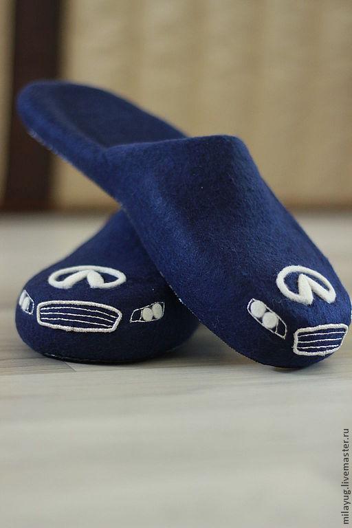 """Обувь ручной работы. Ярмарка Мастеров - ручная работа. Купить """"INFINITI"""" тапочки мужские валяные. Handmade. Тёмно-синий"""