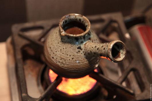 Чайники, кофейники ручной работы. Ярмарка Мастеров - ручная работа. Купить Джезва для кофе маленькая Бодрое Утро керамика с  кордиеритом. Handmade.