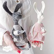 Куклы и игрушки handmade. Livemaster - original item rabbits. Felted toy (grey rabbit pink). Handmade.