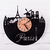 Для дома и интерьера ручной работы. Ярмарка Мастеров - ручная работа Париж, часы из пластинки. Handmade.