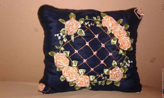 Текстиль, ковры ручной работы. Ярмарка Мастеров - ручная работа. Купить Прованс. Handmade. Тёмно-синий, атлас, подушка, подарок