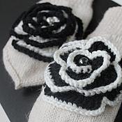Аксессуары ручной работы. Ярмарка Мастеров - ручная работа Варежки black & white. Handmade.
