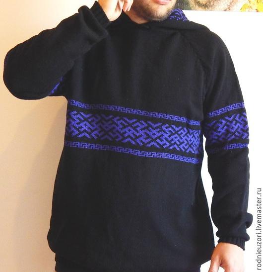 Для мужчин, ручной работы. Ярмарка Мастеров - ручная работа. Купить свитер мужской оберег. Handmade. Черный, свитер мужской