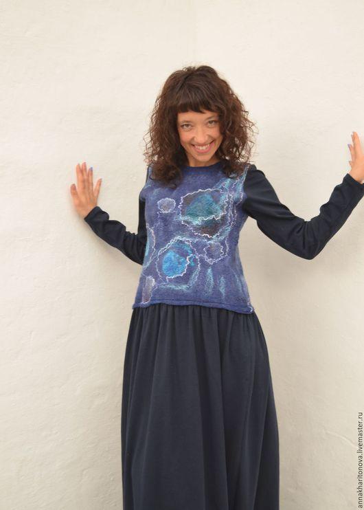 """Платья ручной работы. Ярмарка Мастеров - ручная работа. Купить Платье """"НейроКосмос"""". Handmade. Тёмно-синий, нейро"""
