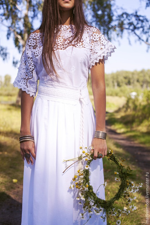 Платье белый хлопок `Аромат лета`