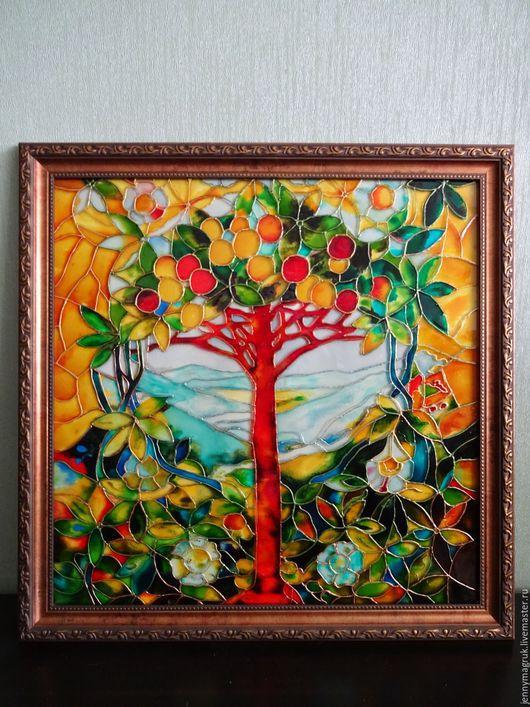 Пейзаж ручной работы. Ярмарка Мастеров - ручная работа. Купить Райское дерево. Handmade. Желтый, картина для интерьера, райский сад