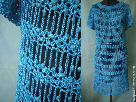 """Платья ручной работы. Ярмарка Мастеров - ручная работа. Купить Платье вязаное  """"Заплетая паутины""""№1. Handmade. Голубой, платье вечернее"""