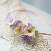 Украшения handmade. Livemaster - original item Headband with flowers pansies