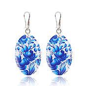Украшения handmade. Livemaster - original item Pale blue earrings oval everyday