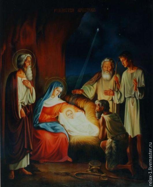 Иконы ручной работы. Ярмарка Мастеров - ручная работа. Купить Икона  Рождество Христово. Handmade. Комбинированный, Икона ручной работы