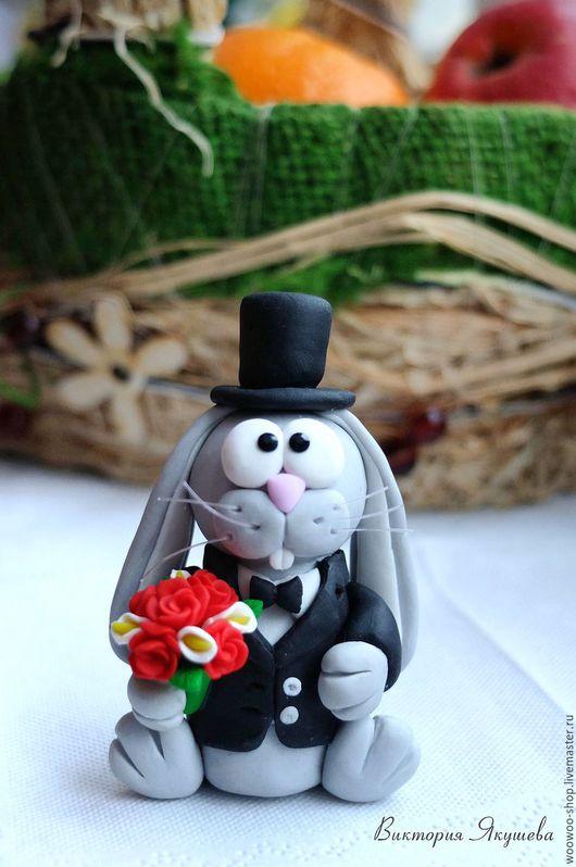 Персональные подарки ручной работы. Ярмарка Мастеров - ручная работа. Купить Заяц - красавец из полимерной глины. Handmade. Черный